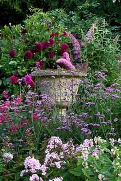Such a lovely way to soften architectural elements in the garden...... Deep fuscia dahlias, tall phlox, lavenders, salvias, etc.  Excellent height with an English county garden feel
