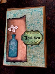 Thank you card. Made with Tim Holtz apocathary bottle die