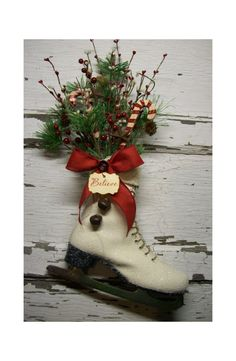 Christmas Ice Skate - Christmas Decor - Christmas wreath - Door decor - vintage - Cottage - French Market - Winter skate - Country