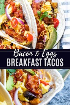 """These breakfast tacos are perfect for brunch or """"brinner"""" with the family. These tacos are packed with cooked bacon, roasted potatoes, scrambled and topped with cheese and avocado. These tacos work great for meal prep and can even be frozen. This Mexican breakfast recipe will become a new family staple. Mexican Breakfast Recipes, Breakfast Tacos, Savory Breakfast, Best Breakfast, Brunch Recipes, Mexican Food Recipes, Dinner Recipes, Ethnic Recipes, Breakfast Ideas"""