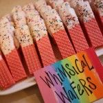 Almond Bark dipped wafers for rainbow party