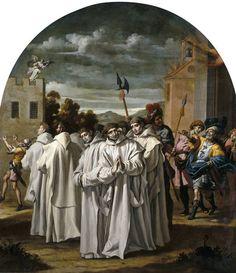 Vicente Carducho.   Incendio en la cartuja de Praga y persecución de los cartujos.