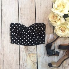Polka Dot Bow Crop Top  Perfect for Coachella and festival season! Polka dot crop top size M. No trades  Forever 21 Tops Crop Tops