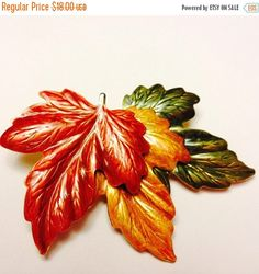 SALE TIME Maple leaf enamel brooch epsteam by betsstuff on Etsy