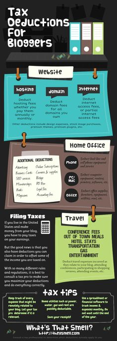 Tax deductions for bloggers #infographic - No B.S. University http://www.NOBSU.com