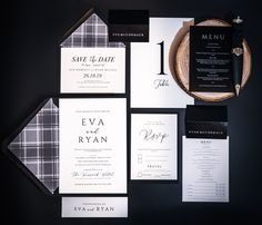 One of our first designs and yet still one of our most popular... This simple understated design is timeless... Modern Wedding Invitations, Wedding Stationery, Monochrome Weddings, Tartan Wedding, Bespoke Design, Stationery Design, One Design, Glasgow, Save The Date