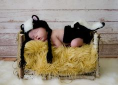 Crocheted Newborn Baby Skunk Hat Beanie Diaper Cover by propsstop, $45.00