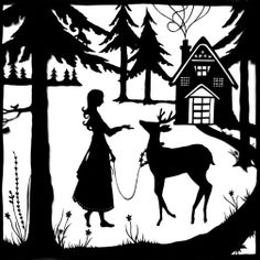 Nordic Winter Silhouette of a Girl and Deer