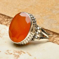 ANNEE - NATURAL FACETED RED CARNELIAN GEMSTONE 925 STERLING SILVER JEWELRY RING SZ 7 $8.25