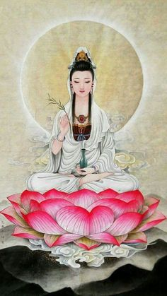 Kuan Yin - celestial bodhisattva and an ascended master Lotus Buddha, Art Buddha, Buddha Kunst, Om Mani Padme Hum, Chinese Painting, Chinese Art, Mandala Nature, Yoga Studio Design, Guanyin