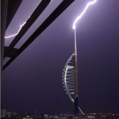 Image of lightning over Spinnaker Tower in Portsmouth by Freddie Ryan
