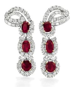 Diamond and ruby earrings by Cartier. Gift to Elizabeth Taylor from Mike Todd.