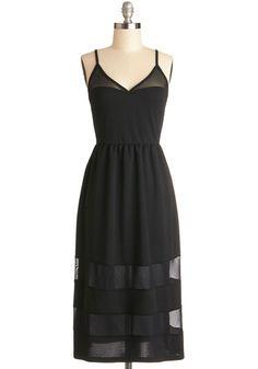 Nashville by Night Dress - Sheer, Knit, Long, Black, Solid, Casual, LBD, A-line, Spaghetti Straps, Good, V Neck