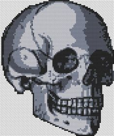 Skull Cross Stitch 'Happy skull' cross stitch kit by FredSpools, $15.86