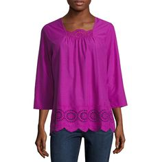 St. John's Bay 3/4 Sleeve Eyelet Blouse - Purple - Size Small -... ($18) ❤ liked on Polyvore featuring tops, blouses, three quarter length sleeve tops, three quarter sleeve blouses, three quarter sleeve tops, purple top and purple blouse