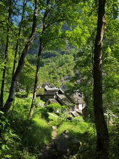 At the end of the track Foroglio, Kanton Tessin, Schweiz