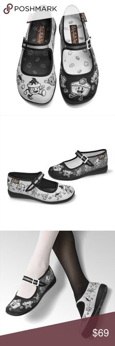 Chocolaticas Cartoon Mary Jane Flats Printed fabric upper. Soft fabric inner. Non marking rubber sole Cushioned inner sole for maximum comfort  Funky & comfortable with every step you take! These Mary Janes are a unique mix of vintage and modern. The classy style of a Mary Jane, the colorful & unique designs of every print, the buckle strap, makes these both functional and fun!  Retro Pinup Pin up Rockabilly Psychobilly Gift West Coast A Mermaid's Epiphany Shoes Flats & Loafers