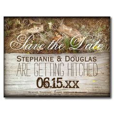 Rustic Camo and Wood Save the Date Postcards