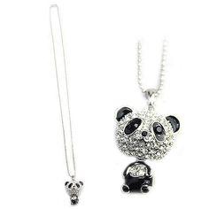 Crystal Rhinestone Panda Pattern Sweater Pendant Necklace