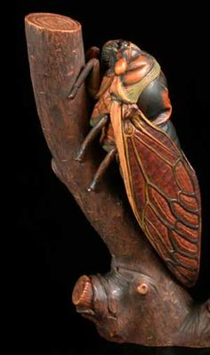 Netsuke - Summer Singer Cicada - amazing! #insects #carving