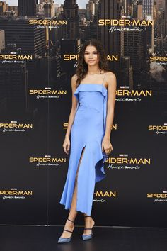 Zendaya Reworks the Angelina Jolie Slit for the Millennial Set - Zendaya dropped by a Spider Man Homecoming photocall in a fun and flirty slip dress by Jonathan Sim - Zendaya Coleman, Zendaya Dress, Zendaya Outfits, Daya By Zendaya Shoes, Mode Zendaya, Zendaya Style, Manolo Blahnik Schuhe, Celebrity Red Carpet, Celebrity Style