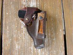 Soviet Vintage 100% Genuine Military brown Leather Gun Holster Soviet VDK Police Makarov Pistol Holster Soviet Union USSR / Revolver  bag