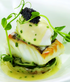 Fillet of cod with poached hen's egg, crushed Jersey Royals and chive butter sauce This exciting cod recipe from Mark Jordan provides a quick, easy and relatively cheap meal that packs a fantastic flavour. Cod Fillet Recipes, Cod Recipes, Seafood Recipes, Gourmet Recipes, Cooking Recipes, Caviar Recipes, Gourmet Desserts, Gourmet Foods, Fancy Recipes