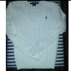 !!Reduced !!White Ralph Lauren sweater Like New White woman's Ralph Lauren sweater..  Size small Ralph Lauren Sweaters