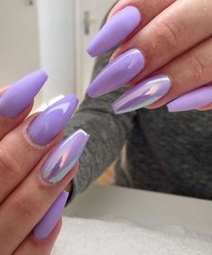 55 Acryl Coffin Nails Designs Ideen – Beste Trend Mode 55 Acryl Coffin Nails Designs Ideen – Beste Trend Mode,Nailed it Love the color Purple Acrylic Nails, Best Acrylic Nails, Orange Nails, Light Purple Nails, Purple Chrome Nails, Acrylic Nails Coffin Kylie Jenner, Lilac Nails With Glitter, Acrylic Nails For Spring, Pointy Acrylic Nails