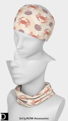 Fun for the beach, this cute headband, which also doubles as a neckband, features pastel orange crabs and lavender scallop shells in an alternating pattern on top of beige zigzag chevron stripes. https://artofwhere.com/artists/studio-dalio/accessories/headband/676329 #StudioDalio nautical fashion accessories clothing