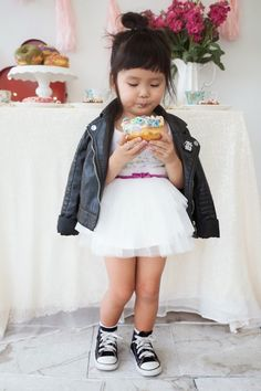 Leather Jacket by H&M kids Tulle skirt: Space 46 Boutique Vintage Chucks