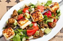 Fatush salad with grilled halumi cheese
