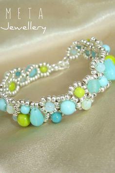 Handmade beaded asymmetric bracelet with green and light blue glas beads Beaded Jewelry, Beaded Bracelets, Light Blue, Green, Handmade, Corning Glass, Hand Made, Pearl Bracelets, Bead Jewelry