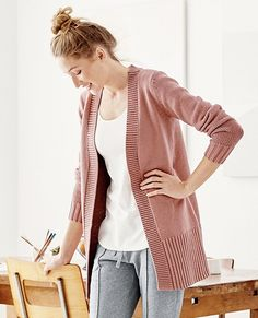 Our perfect-shape long cardigan makes everything else look suddenly amazing—wrap yourself in its supersoft cotton and Merino coziness while sipping morning coffee, through your day, and later with a book (or a little person) on your lap at bedtime. Move over, robe. This is live-in-all-day comfy.   <br>•70% cotton, 30% Merino wool yarns <br>•Soft sweaterknit <br>•Open front with ribbed edges <br>•Long ribbed cuffs <br>•...