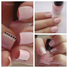 Pink nails with black & white dots! Fancy Nails, Love Nails, Pink Nails, My Nails, Perfect Nails, Gorgeous Nails, Pretty Nails, Manicure Natural, Manicure Y Pedicure