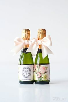 Custom floral labels on mini champagne bottle wedding favours   WedLuxe    Timeless Wedding at TheMini Wine Bottle Label Wedding Favors Thank You by paperandlace  . Mini Wine Bottle Favors For Weddings. Home Design Ideas
