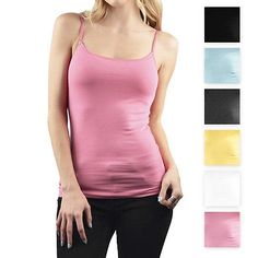 d6b3b572c7a Women s Basic Ambiance Apparel™ Cotton Tank Top With Adjustable Spaghetti  Straps Clothing Deals