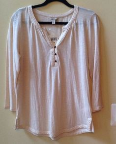 NWT LUCKY BRAND WOMEN'S NATURAL COLOR 100% COTTON LONG SLEEVE TOP SIZE M #LuckyBrand #Blouse