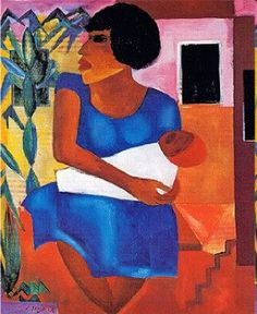 Woman with child(1924) - Oil on Canvas - Lasar Segall.
