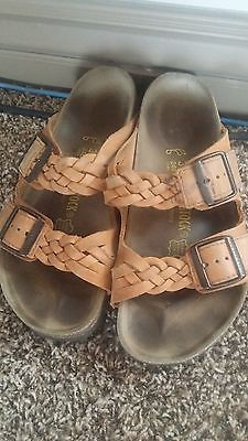 Tatami Birkenstock Yara Oiled Leather Braided Sandals Size