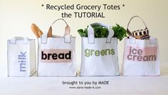 DIY reusable shopping bags made from used plastic grocery bags. CUTE! I WILL have to try!