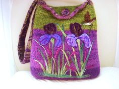 Felted Tote Purse  Iris and Hummingbird by FeltedFantasies on Etsy, $185.00