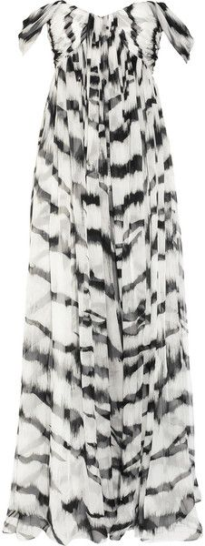 White Tiger Printed Silk-Chiffon Gown by Alexander McQueen