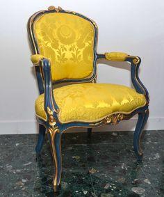 eladó karfás szék, velencei festett, neobarokk
