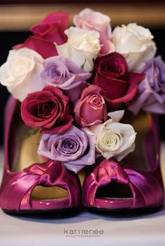 roses and hot pink satin shoes. sexy