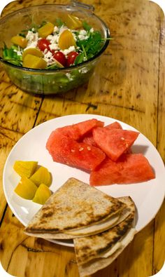 Easy lunch ideas for kids and adults: turkey and Parmesan quesadilla on a whole-wheat tortilla; watermelon; and golden beets. http://www.LunchBoxBlues.com