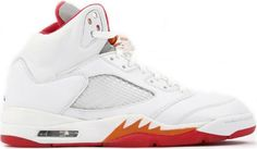 Air Jordan 5 (V) Retro Womens White / Fire Red - Sunset - Dark Cinder Off,Non- Tax,Direct Factory Delivery. Fast Shipping, Buy Now! Nike Air Jordan 5, Red Sunset, Michael Jordan Shoes, Cinder, Air Jordans, Sneakers Nike, Fire, Jordan Retro, Kicks