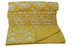 YELLOW IKAT KANTHA INDIAN QUILT QUEEN THROW KANTHA BED COVER BEDSPREAD RALLI #Handmade #Traditional