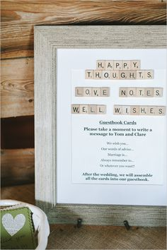 wedding guest book ideas.  did something similar for my baby shower, nice too look at every anniversary when you've realized the words of wisdom were right on