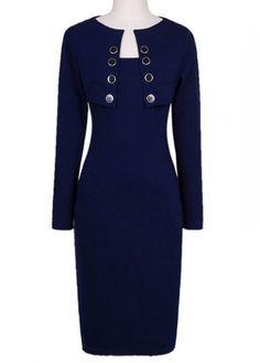 Elegant Long Sleeve Knee Length Dress for Lady on sale only US$18.64 now, buy cheap Elegant Long Sleeve Knee Length Dress for Lady at martofchina.com